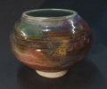 "Large jar 8"" dia. layered glazes and oxides."