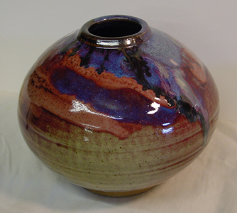 Jar with copper iron and ash glaze