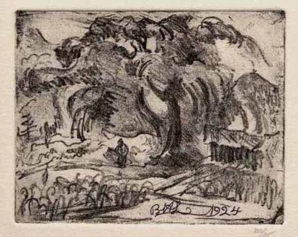 Bernard Leach etching 1924