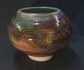 "Large jar 8"" dia. layered glazes and oxides."