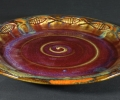"""Fish Platter 15"""" dia. copper red with iron brushed over."""