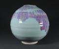 Moon Jar, Jun glaze with copper splash.