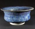 """bowl 10"""" dia. blue copper glaze."""