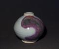 """4"""" round jar, Iron blue with copper splash"""