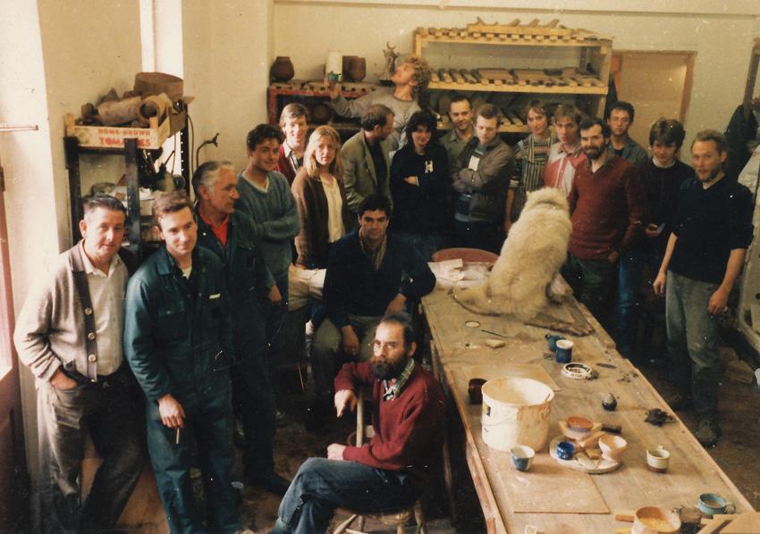the ceramics team in 1986 with Boris the dog
