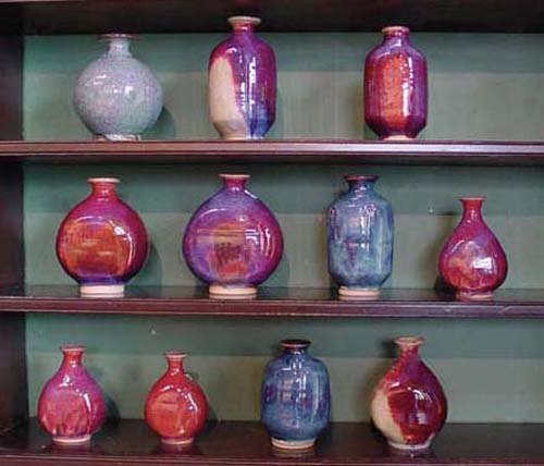 copper red glazes with flame marks